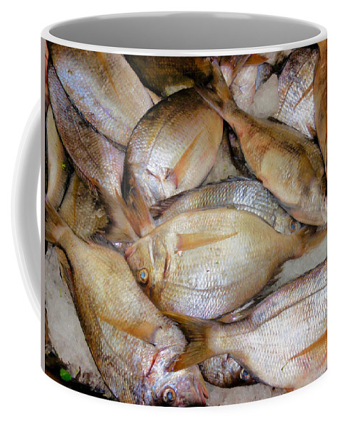 Fresh Fishes In A Market Coffee Mug featuring the painting Fresh Fishes In A Market 4 by Jeelan Clark
