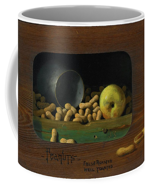 John Frederick Peto 1854 - 1907 Peanuts�fresh Roasted Coffee Mug featuring the painting Fresh Roasted by John Frederick