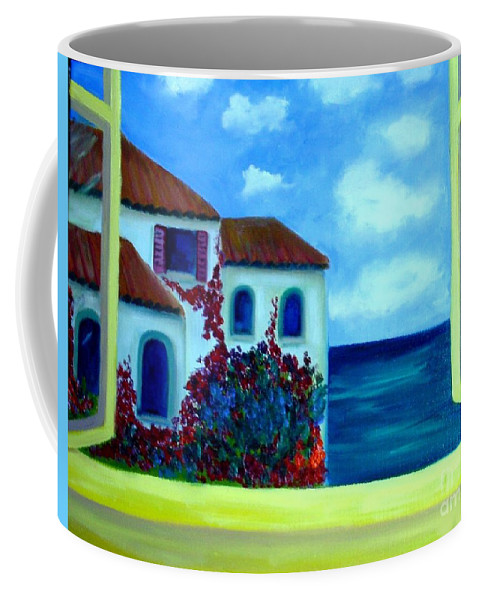 Seascape Coffee Mug featuring the painting Fresh Sea Air by Laurie Morgan