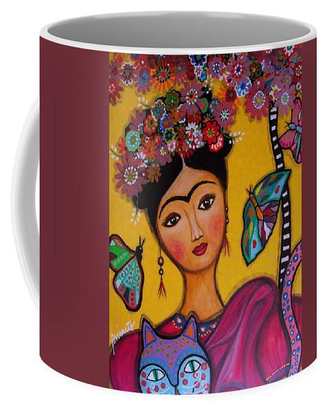Flower Coffee Mug featuring the painting Frida Kahlo by Pristine Cartera Turkus