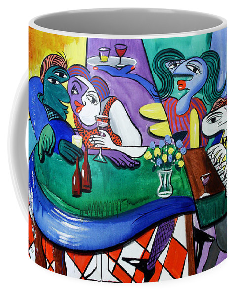 Friday At Beanies Coffee Mug featuring the painting Fridays At Bernies by Anthony Falbo