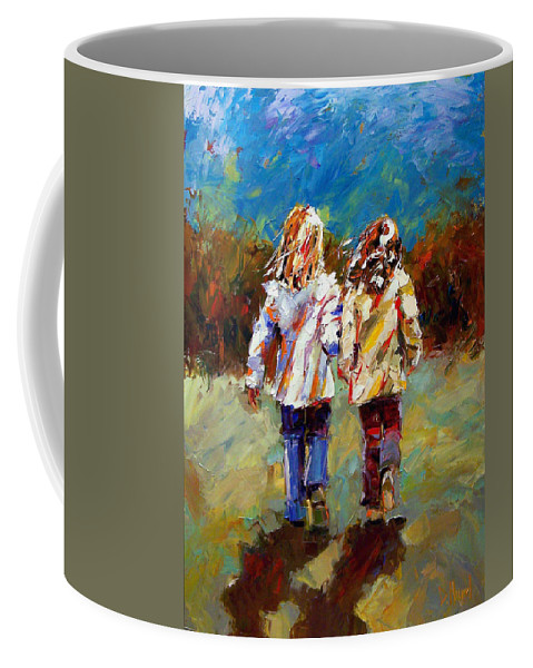 Girls Coffee Mug featuring the painting Friends Forever by Debra Hurd