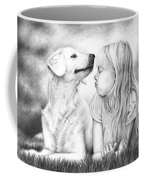Dog Coffee Mug featuring the drawing Friends by Nicole Zeug