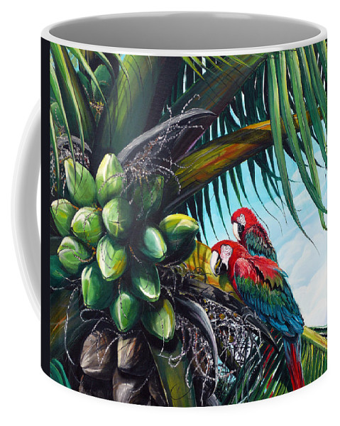 Macaws Bird Painting Coconut Palm Tree Painting Parrots Caribbean Painting Tropical Painting Coconuts Painting Palm Tree Greeting Card Painting Coffee Mug featuring the painting Friends Of A Feather by Karin Dawn Kelshall- Best