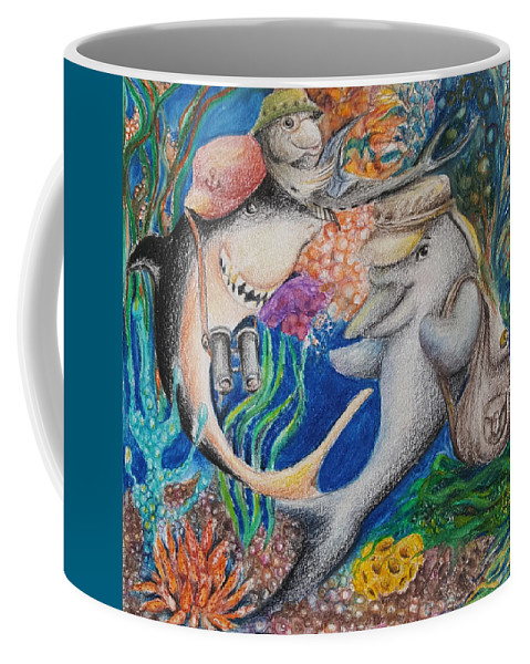Illustration Coffee Mug featuring the mixed media Friends by Rita Fetisov