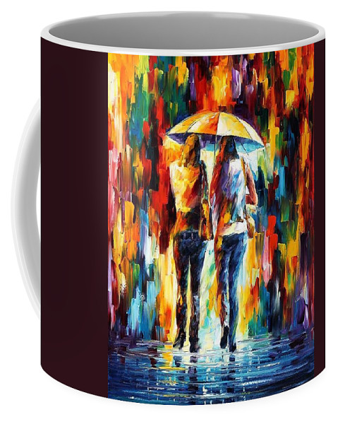 Afremov Coffee Mug featuring the painting Friends Under The Rain by Leonid Afremov
