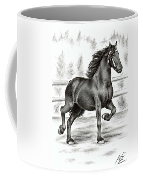 Horse Coffee Mug featuring the drawing Friesian Horse by Nicole Zeug