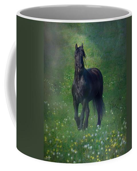 Horses Canvas Prints Coffee Mug featuring the photograph Friesian Mist by Fran J Scott