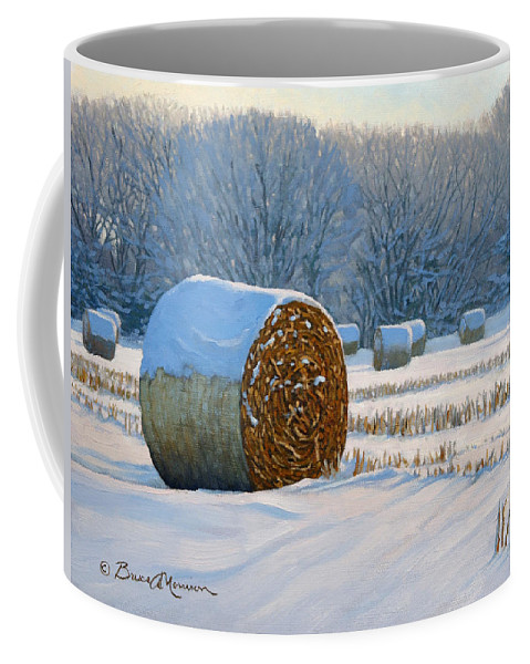 Landscape Painting Coffee Mug featuring the painting Frigid Morning Bales by Bruce Morrison