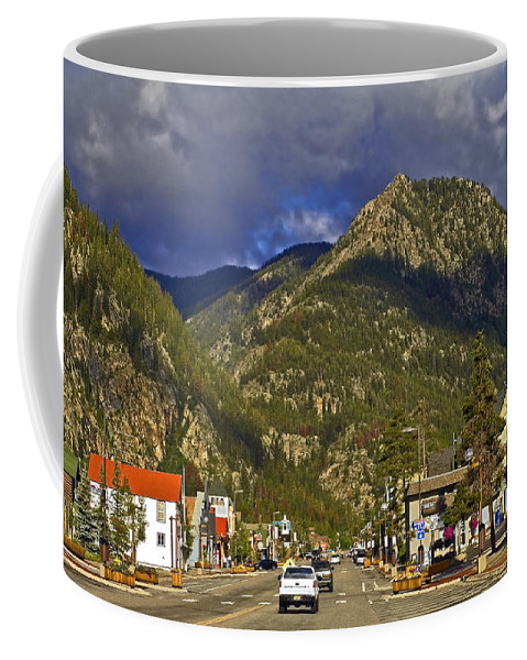 Main Street Coffee Mug featuring the photograph Frisco By The Mountain by Sally Weigand