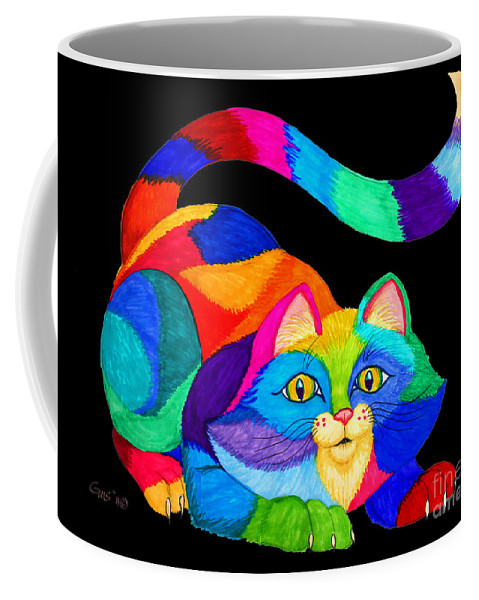 Cat Coffee Mug featuring the drawing Frisky Cat by Nick Gustafson