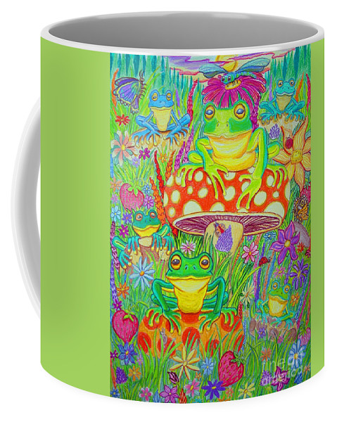 Frog Art Coffee Mug featuring the drawing Frogs And Mushrooms by Nick Gustafson