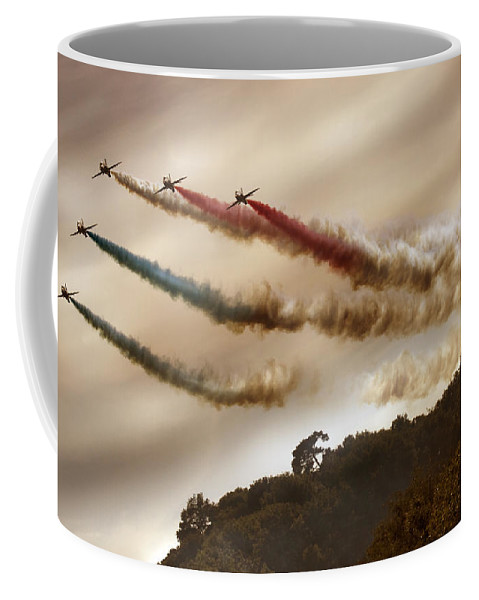 Red Arrows Coffee Mug featuring the photograph From Behind The Hill by Angel Ciesniarska