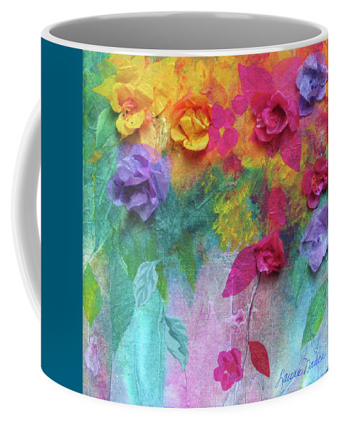 Bright Coffee Mug featuring the painting From My Garden by Laura Nance