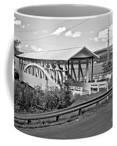 Bowser Coverd Bridge Coffee Mug featuring the photograph From Old To New In Bedford County Black And White by Adam Jewell