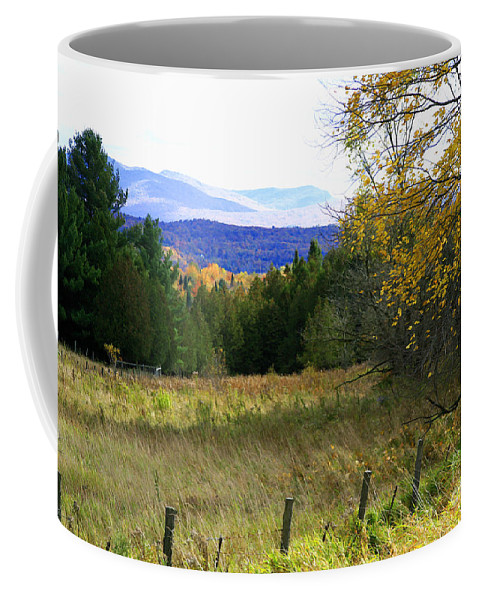Landscape Coffee Mug featuring the photograph From The Field To The Mountains by Deborah Benoit