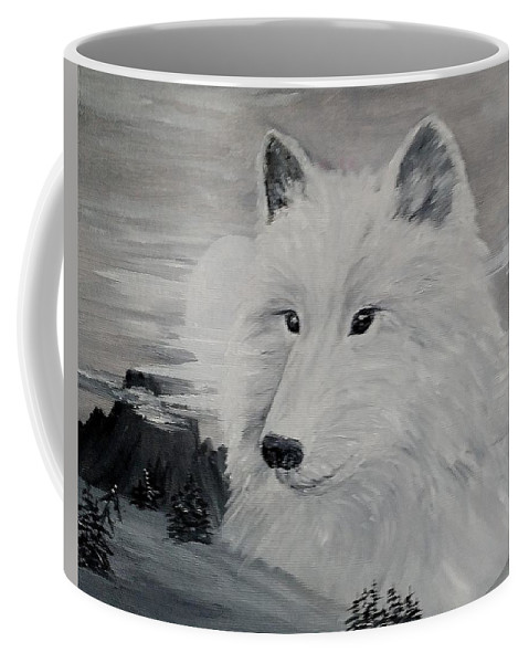 White Wolf Coffee Mug featuring the painting From The Mist Of The Moon by Sandra Maddox