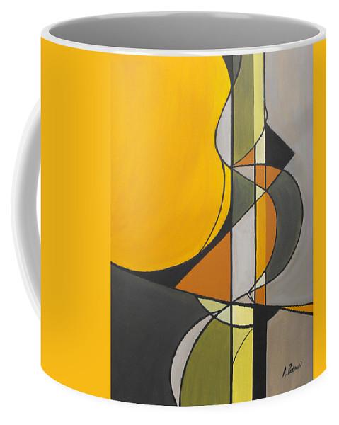 ruth Palmer Abstract Geometric Painting Acrylic Black Grey Green Orange Coffee Mug featuring the painting From Time To Time by Ruth Palmer