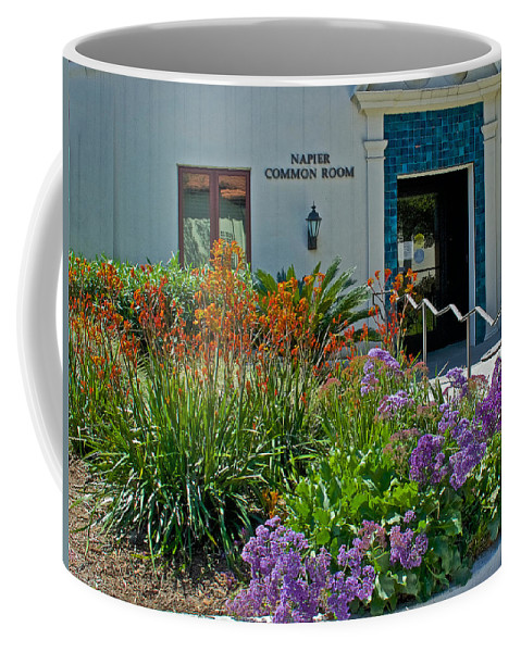 Flowers In Front Of Napier Common Room At Pilgrim Place In Claremont Coffee Mug featuring the photograph Flowers In Front Of Napier Common Room At Pilgrim Place In Claremont-california by Ruth Hager