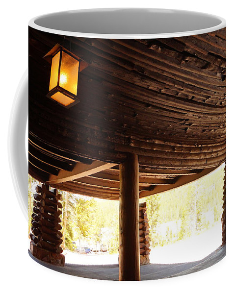 Architecture Coffee Mug featuring the photograph Front Porch Of Old Faithful Inn by Beth Collins