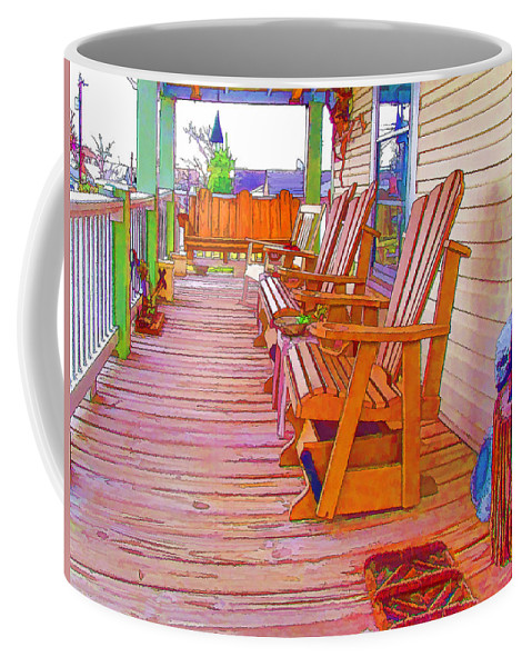 American Coffee Mug featuring the painting Front Porch On An Old Country House 1 by Jeelan Clark