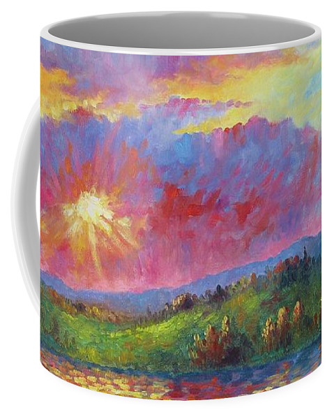 Landscape Coffee Mug featuring the painting Front Range Sunset by David G Paul