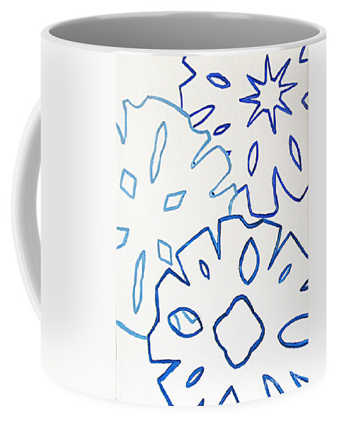 Snowflakes Winter Abstract Coffee Mug featuring the painting Frost N Flakes 1 by Jilian Cramb - AMothersFineArt