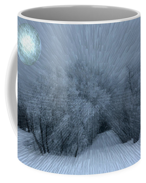 Moon Hoar Frost Trees Sky Winter Snow Cold Fog Lunar Coffee Mug featuring the photograph Frosted Moon by Andrea Lawrence