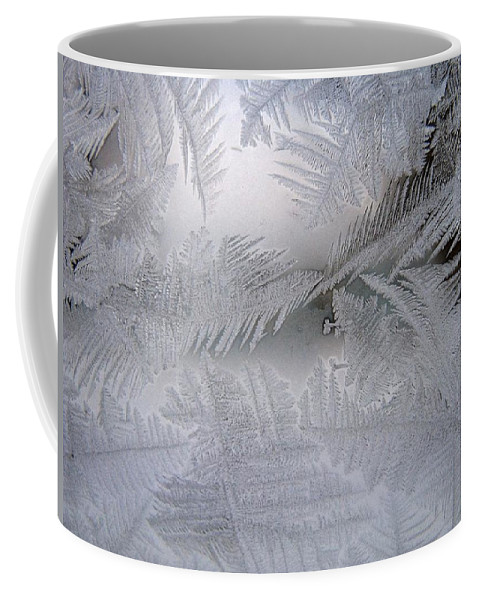 Frost Coffee Mug featuring the photograph Frosted Pane by Rhonda Barrett