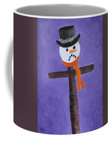 Snowman Coffee Mug featuring the painting Frosty Cross by Reggie Hart
