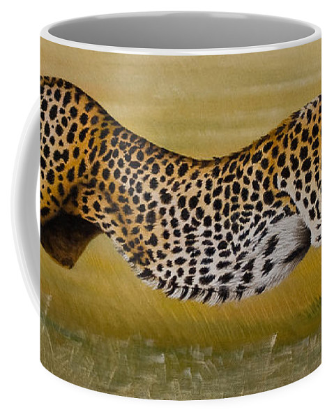 Cheetah Flying Run Speed Stretch Chase Coffee Mug featuring the painting Frozen At Full Charge by Pauline Sharp