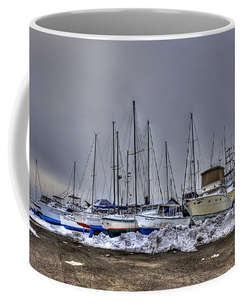 Boat Coffee Mug featuring the photograph Frozen Waves by Evelina Kremsdorf