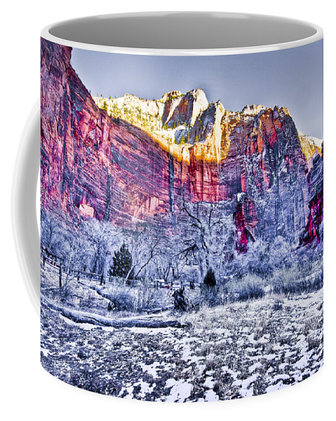 Landscape Coffee Mug featuring the digital art Frozen Zion by Ches Black