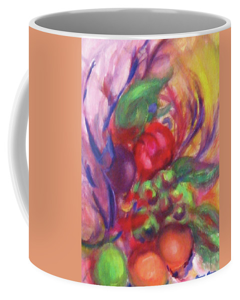 Fruits Coffee Mug featuring the painting Fruit And Flowers by Diane Quee