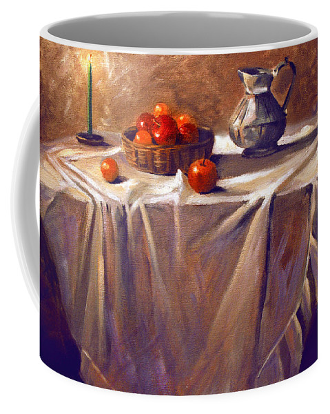Still Life Coffee Mug featuring the painting Fruit by Candle Light by Nancy Griswold