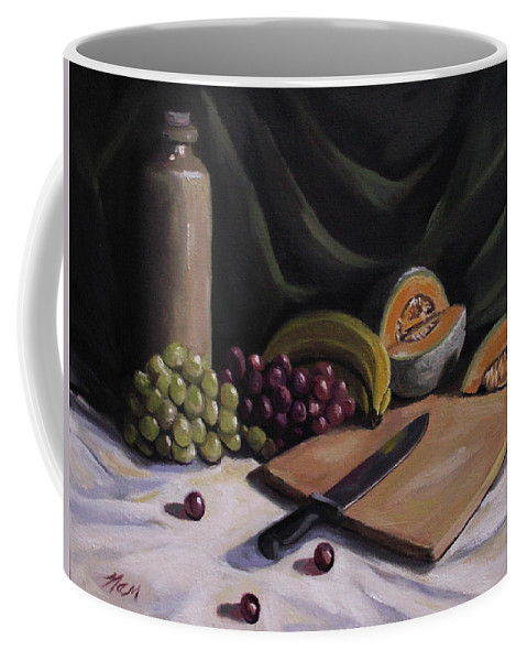 Still Life Coffee Mug featuring the painting Fruit by the Light by Nancy Griswold