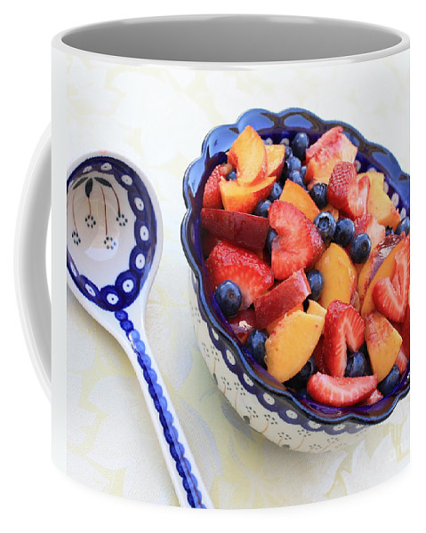 Fruit Coffee Mug featuring the photograph Fruit Salad With Spoon by Carol Groenen