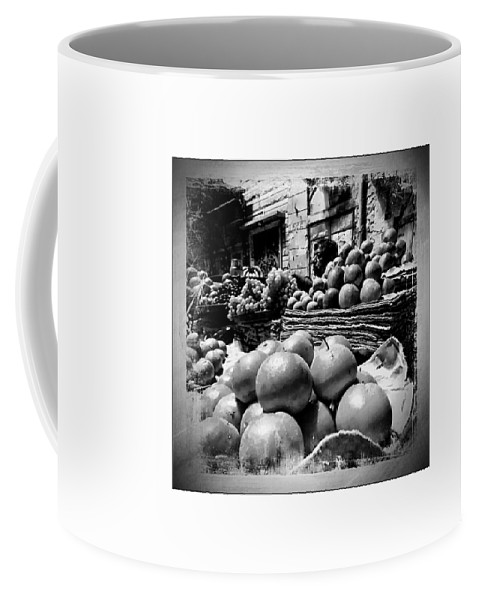 Market Coffee Mug featuring the photograph Fruit Seller Blue City Street India Rajasthan Bw 1b by Sue Jacobi