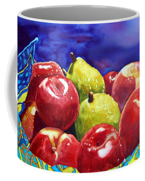 Watercolor Coffee Mug featuring the painting Fruitfully Yours by Gerald Carpenter