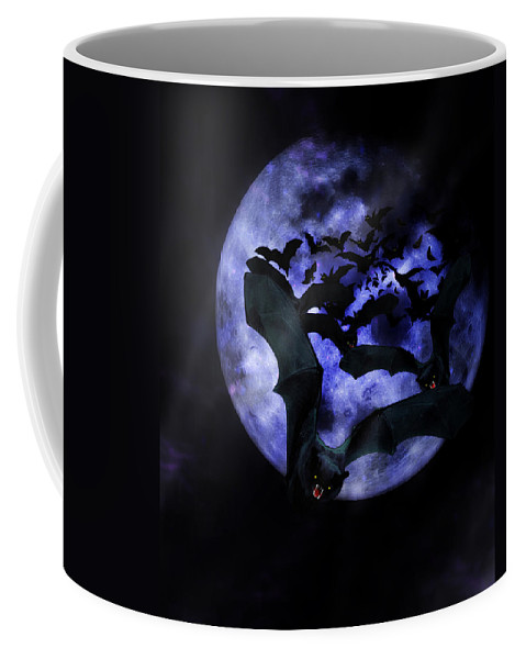 Halloween Coffee Mug featuring the mixed media Full Moon Bats by Gravityx9 Designs