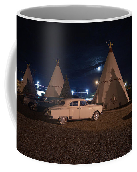 66 Coffee Mug featuring the photograph Full Moon Over Wigwam Motel by Robert J Caputo