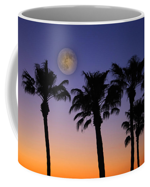 Moon Coffee Mug featuring the photograph Full Moon Palm Tree Sunset by James BO Insogna