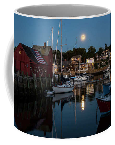 Rockport Coffee Mug featuring the photograph Full Moon Rising Over Motif Number 1 Rockport Ma Moonrise by Toby McGuire