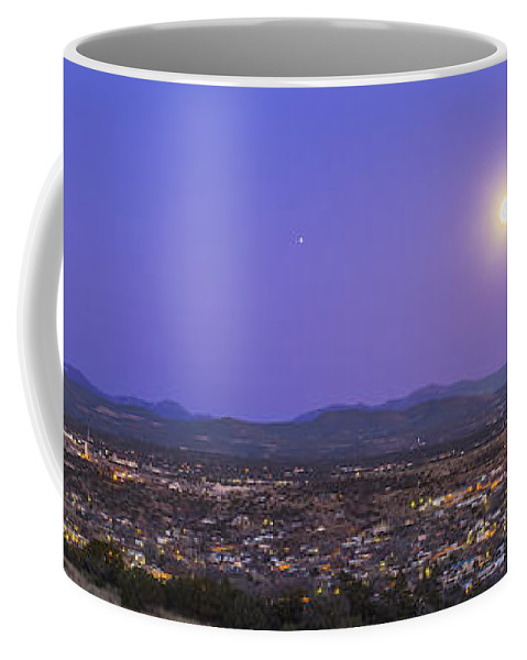 Full Moon Coffee Mug featuring the photograph Full Moon Rising Over Silver City, New by Alan Dyer