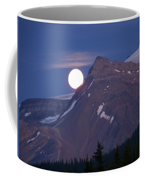 Mountain Coffee Mug featuring the photograph Full Moon Over The Rockies by Greg Hammond