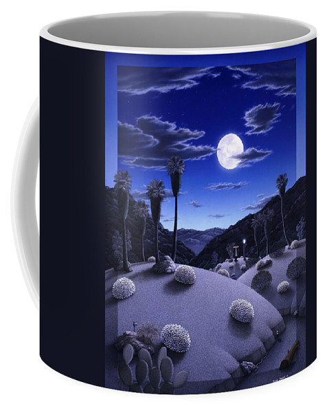 Desert Coffee Mug featuring the painting Full Moon Rising by Snake Jagger