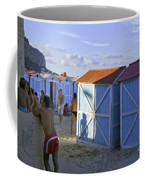 Cabana Coffee Mug featuring the photograph Fun At Mondello Beach by Madeline Ellis