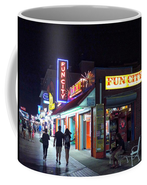 ocean City Coffee Mug featuring the photograph Fun City On The Boards by Doug Swanson
