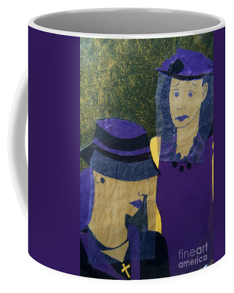 Purple Coffee Mug featuring the mixed media Funeral Masks by Debra Bretton Robinson