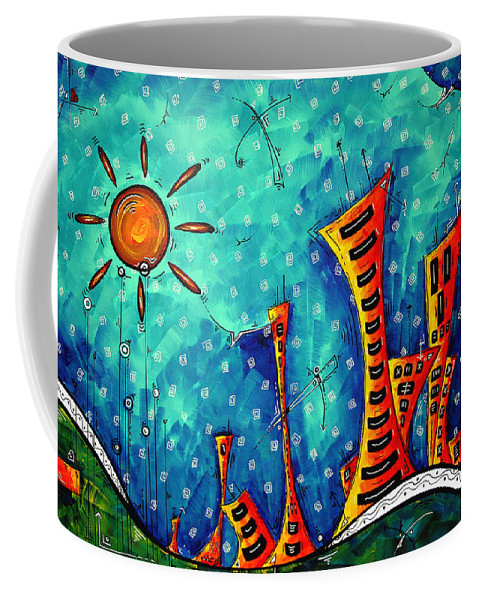 Art Coffee Mug featuring the painting Funky Town Original Madart Painting by Megan Duncanson